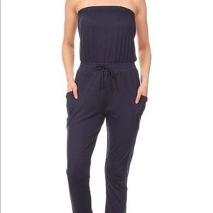Navy Blue Casual Strapless Jumpsuit